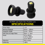DLi Graphic 3DLP9000 30um Projection Lens Spec Chart
